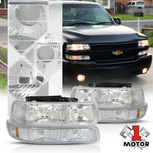 Chrome Housing Headlight amber Signal Bumper For 99 02 Silverado suburban Tahoe