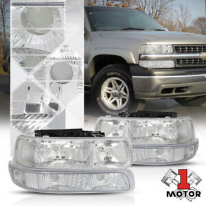 Chrome Housing Headlight clear Signal Bumper For 99 02 Silverado suburban Tahoe