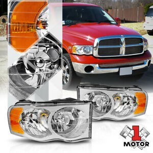 Chrome Housing Headlight Amber Signal Reflector For 02 05 Dodge Ram 1500 2500
