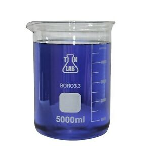 Tn Lab Supply 5000 Ml Borosilicate Glass Beaker pack Of 2 Ships From Usa