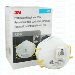 3m 8210v N95 Particulate Respirator W valve Case Of 8 Boxes 80 Masks free Ship