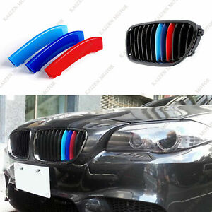 M color 12 Bars Sport Grille Kidney Insert Trims Cover For Bmw F10 F11 5 Series