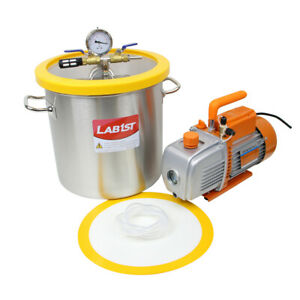 5 Gallon Stainless Steel Vacuum Degassing Chamber Kit With 2 stage 5 Cfm Pump