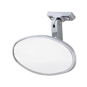 Interior Vintage Oval Chrome Rear View Glass Mirror W Screw On Universal Mount