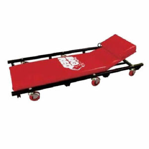 Rolling Garage Creeper Bench Mechanic Adjustable Head Rest Pad 6 Wheel Red Cart