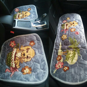 Set Of 3 Soft Warm Plush Cute Dog Print Car Interior Front Rear Seat Cover Pads