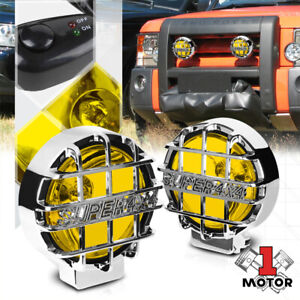 Yellow Lens 6 round Fog Light W chrome 4x4 Offroad Protective Stone Guard switch