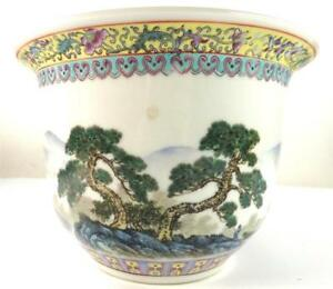 Chinese Famille Rose Porcelain Jardinere Pot Planter Caligraphy Lake Pagoda
