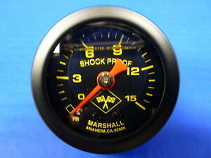 Marshall Gauge 0 15 Psi Fuel Pressure Oil Pressure 1 5 Midnight Black Liquid