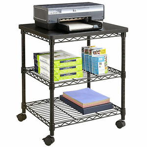 Desk Side Printer Cart Mobile Table 27in Machine Stand Black Steel Wire Shelf