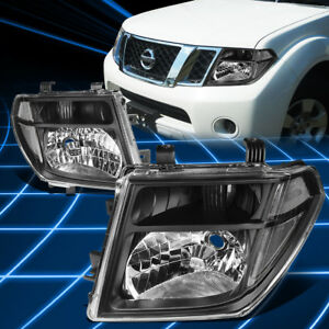 For 05 08 Nissan Frontier Pathfinder Headlight Lamp Set Replacement Black Clear