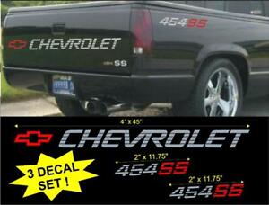 Chevrolet 454 Ss Tailgate Bed Vinyl Vehicle Decal Stickers Set 1990 s Truck