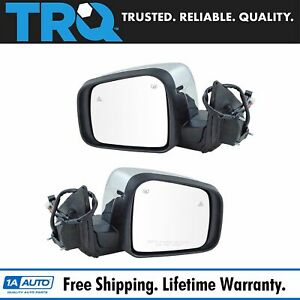 Mirror Power Heated Signal Memory Blind Spot Chrome Pair Set For Durango New