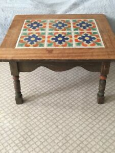 Vintage California Malibu Santa Barbara Tudor Mission 6 Tile Table Original