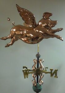Flying Pig 3d Majestic Copper Weathervane As Shown No Roof Mount