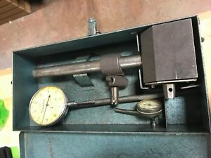 Antique Brown And Sharpe Stand With Federal Dial Indicator In Metal Case