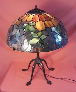 Antique Tiffany Woodbine Lamp With Original Tiffany Spider Leg Base