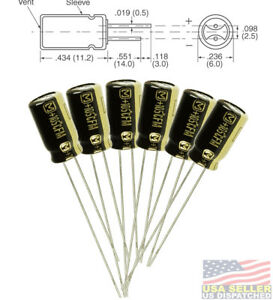 6pcs Panasonic Fm 100uf 25v 20 Radial Capacitors Leaded 105c 6 3 X 11 2mm