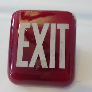 Vintage Art Deco Red Ruby Exit Sign Ceiling Lamp Light Glass