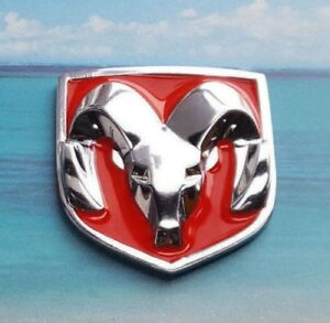 Metal Red Chrome Dodge Ram Hood Head Style Emblem Body Car Badge Decal Sticker