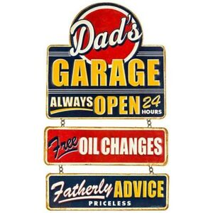 Dad S Garage Vintage Style Hanging Metal Signs Man Cave Garage Decor 69