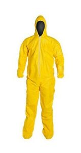 Dupont Tychem Tyvek Qc122t Taped Seams Chemical Hazmat Suit Yellow New Size Xl