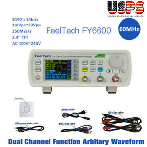Feeltech Fy6600 60mhz Dual Channel Dds Function Signal Generator Waveform 20vpp