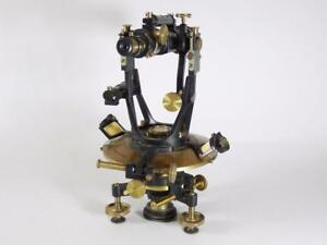 C 1880 Brass Theodolite surveying Transit dennert Pape orig Wooden Case