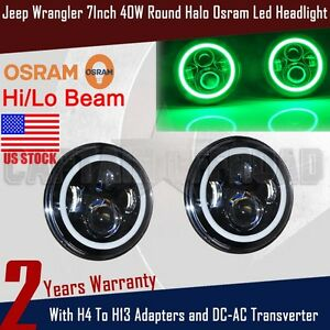 Osram Led Green Halo Ring 7inch Round 40w Angel Eye Headlight 2 Jeep Wrangler Ap