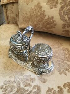 Vintage Silverplate Condiment Set Reprousse Floral Design Marked Hf 0917