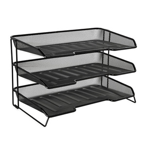 Rolodex Mesh Collection 3 tiered Desk Tray Black 1742325