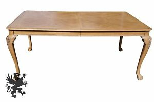 Chippendale Style Distressed Oak Dining Table Cabriole Leg Scalloped Ball