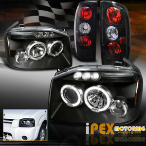 For 2001 2004 Nissan Frontier Halo Projector Led Headlights Tail Lights Black