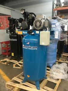 New 7 5hp 80 Gallon Two Stage Air Compressor Baldor Motor Made In Usa 3 Cyl