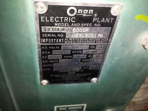Onan Generator 5 0 Cck ir 6000p For Parts Or Repair Rv Genset Motorhome