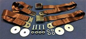 Vintage Chrome Retro Hot Rod Muscle Car Truck Dark Brown Seat Belts 2 Sets New