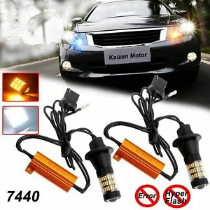 7440 Dual Color White Amber Switchback Led Bulbs Kit For Drl Turn Signal Lights