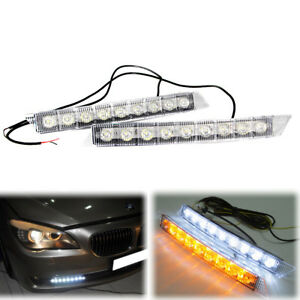 12v 9 Led Universal Daytime Running Light Drl Fog Lamp Day Lights Daylight Strip