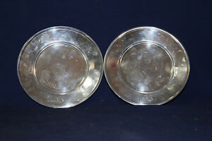 Antique R Wallace Sons Sterling Silver Plates Monogramed Hjj 138 Grams 5 1 2