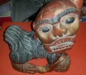 Rare Antique Chinese Hardwood Foo Dog Lion Hand Carved Painted