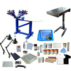 4 Color Screen Printing Press Bundle Kit Diy Package Flash Dryer Squeegee Ink
