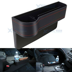 Console Side Pocket Organizer Car Seat Catcher W Cup Holder Black Leather
