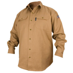 Revco Industries Fs7 khk m Flame resistant Cotton Work Shirt Medium