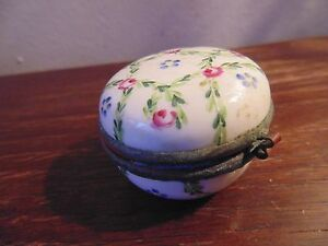 Antiques Box Battersea Porcelain Hand Painted Brass Mounts Old Hair Lines Early