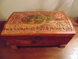 Dresser Box Cedar Hand Carved Decoupage Panel Some Damage On Top Gilt Lock And H