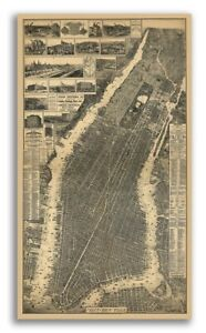 1879 New York City New York Vintage Old Panoramic Ny City Map 24x42