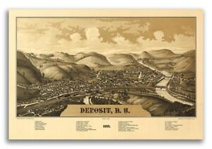 1887 Deposit New York Vintage Old Panoramic Ny City Map 20x30
