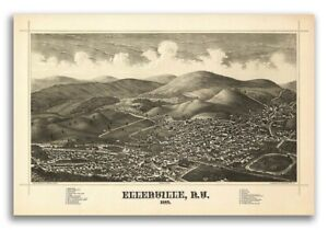 1887 Ellenville New York Vintage Old Panoramic Ny City Map 20x30