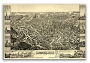 1881 Little Falls New York Vintage Old Panoramic Ny City Map 24x36