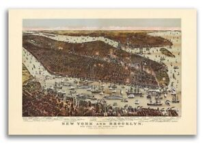 1892 New York City New York Vintage Old Panoramic Ny City Map 24x36
